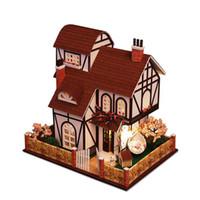 spielzeug hausmöbel großhandel-Möbel DIY Puppenhaus Wodden Miniatura Puppenhäuser Möbel Kit DIY Puzzle Montieren Puppenhaus Spielzeug Für Kinder geschenk k013