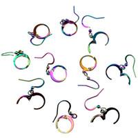 ganchos de ouvido de aço inoxidável venda por atacado-Cor do arco-íris Brinco Ganchos Clipe Clipe Ear Cuff Jóias Acessórios Aço Inoxidável