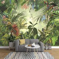Wholesale vintage flocked wallpaper for sale - Group buy European Vintage Hand painted Rainforest Banana Leaf Photo Wallpaper Bedroom Living Room TV Background Wall Non woven D Mural
