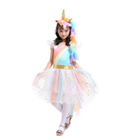 Wholesale rainbow wings - Girls Dress Unicorn Rainbow Dress Unicorn Headband + Angel Wings +Lace Tutu Girls Princess Dress 3 Pieces Suits Cosplay Clothing Sets