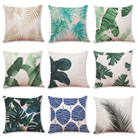 Wholesale 2019 New Tropical Plants Printed Linen Cushion Cover Home Office Sofa Square Pillow Case Decorative Cushion Covers Pillowcases