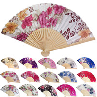 Wholesale Personalized Wedding Fans - Personalized Wedding Fan Vintage Bamboo Folding Hand Held Flower Fan Chinese Dance Party Pocket Gifts wedding fan purple