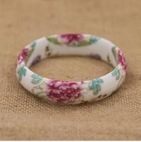 Wholesale chinese porcelain bracelet resale online - Chinese style blue and white porcelain bracelet ceramic ring female porcelain first ornament