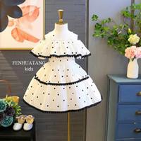 Wholesale off shoulder striped dress - girls dresses sleeveless Off shoulder Suspender Princess dress Pleated Polka dot Striped girl elegant soft girl dress