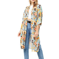 длинные летние кардиганы для женщин оптовых-Summer top 2018 casual kimono cardigan women blouses short sleeve women tops printing womens clothing long shirt