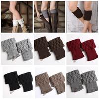 Wholesale fashion ankle cuffs - Women Winter Warm Knit Leg Warmer Crochet Knitted Ankle Socks Boot Cuffs Toppers Crochet Leg Warmers Knitted Boot Cuffs KKA3618
