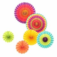 Wholesale handcraft homes - Foldable Paper Fan Flower Colorful Circular Handcraft Fans Fashion Wedding Birthday Party Home Decorative Multi Colour Choose 11yj Y