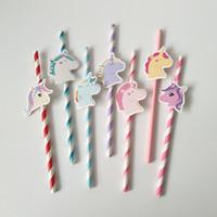 mavi kağıt çöp toptan satış-7 Renkler Unicorn Kağıt İçme Payet Pembe Mavi Mutlu Doğum Günü Içme Saman Tek Kullanımlık unicorn Saman Sofra Parti Dekor AAA683