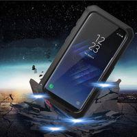 Wholesale Iphone Aluminum Border Case - Waterproof Shockproof Aluminum Gorilla Glass Metal Cover Case For Samsung S8 plus Iphone Silicone border metal case