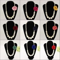 Les tout-petits enfants Fille Bébé Princesse Imitations de perles dentelle nœud collier