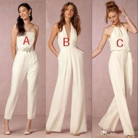 Wholesale plus size dress for fall wedding resale online - 2020 Custom Made Jumpsuit Bridesmaid Dresses for Wedding Sheath Backless Wedding Guest Gowns Plus Size Pant Suit Beach BA7444