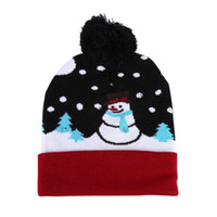 Discount football holidays - Hot Sale Knit Light Up Hat With Colorful LED Lights Beanie Knit Cap LED Christmas hats Ugly Sweater Holiday Beanie hats