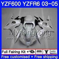 kit carrosserie yamaha r6 achat en gros de-Corps pour YAMAHA YZF600 YZF R6 Blanc perle complet 03 04 05 YZFR6 03 Carrosserie 228HM.22 YZF 600 R 6 YZF-600 YZF-R6 2003 2004 2005 Kit de carénage