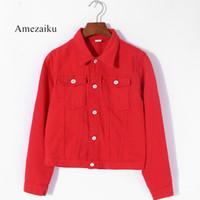 kızlar için siyah ceketler toptan satış-Kadınlar Temel Coats yaz Sonbahar Kadın Denim Ceket kırmızı pembe siyah denim ceket Kadın Kot Ceket Rahat Kızlar Dış Giyim laides