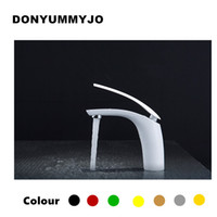 Wholesale black bathroom basin for sale - New Hot sell Brass Baking finish bathroom basin Faucet Fashion Colors Hot and Cold Water Mixer Tap Black White Red