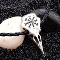 Wholesale skull pendants for men for sale - Group buy Crow Pendant Necklace For Women Pirates Vintage Northern Europe Totem Compass Rune Plunder Skull Punk Leather Necklace Fashion Men Necklace