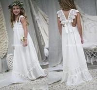 hacer vestido de niña de flores de gasa al por mayor-2018 recién llegado de Boho vestidos de niña de las flores para bodas barato con cuello en V de gasa de encaje comunión infantil formal de la boda vestido de novia por encargo