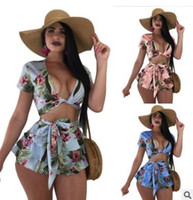 Wholesale sexy holiday clothes - Summer women skirt suits Laces Short Sleeve Cardigan Shorts ruffled Sexy two piece printing Casual holiday ladies clothing