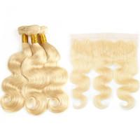 sarışın brazilian dalga saç paketleri toptan satış-Vücut Dalga 613 Demetleri Ile Frontal Brezilyalı Remy İnsan Saç Sarışın Dantel Kapatma Ile 3 Demetleri Frontal