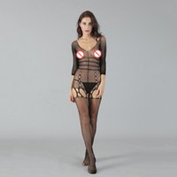 Wholesale sexy crotchless bodystocking - Women sexy mesh bodystocking,Crotchless Hollow out Temperament women's sleepwear,Entice women's stocking