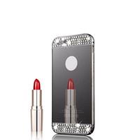 iphone abdeckungsspiegel bling großhandel-Diamant-Glitter-Spiegel-Kasten für iPhone 7 6 6S plus 5 5S SE Fall Doppelschicht Bling dünne freie rückseitige Abdeckung für iPhone 7plus