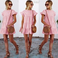 Wholesale ladies party tops shirts - Womens Ladies Check Mini Shirt Dress Flare Sleeve Dress Summer Beach Frilled Tops Party Sundress Pink Blue Orange RF1149