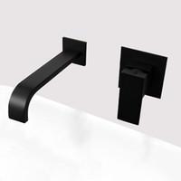wasserhahn mischer wand montiert großhandel-Matt Schwarzes Überzogenes Badezimmer Wandmontierte Wasserhahn Qualität Messing Wasserfall Becken Wassermischer Einhand Quadrat Tapware