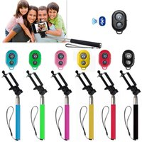 Wholesale bluetooth shutter iphone resale online - Extendable Handheld Selfie Stick Monopod Bluetooth Remote Shutter for iPhone Samsung with Retail Box High Quality