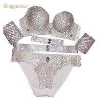 54034fc0fc Costume da bagno donna Sexy Mostra Bikini Strass Sweep Gogo Performance  Stage Set reggiseno Brace intimo Abito da ballo di pipa