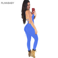 8ad3772a43cc RLMABABY Sexy Backless Lace Up Bodycon Long Rompers Women Jumpsuit Slim  Deep V Neck Sleeveless Spaghetti Strap Club Overalls
