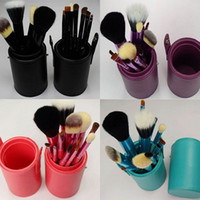 Wholesale makeup brush cups for sale - Group buy Hot Solid Colors Brushes Portable Makeup Brush Round Pen Holder Cosmetic Tool PU Leather Cup Container