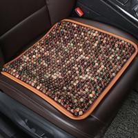 ingrosso cuscino sedile in tallone-Universal Summer Natural Wood Beads Car Seat Cover Cuscino Auto interni Accessori per lo styling 45cm x 45cm Marrone