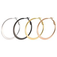 círculos de ouro planos venda por atacado-Atacado (TE-0027) titânio aço liso círculo brincos de argola para mulheres jóias não se desvanece 4 cor do ouro 4 tamanho escolha