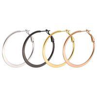 ingrosso cerchi in oro piatto-Commercio all'ingrosso (TE-0027) Orecchini a cerchio in acciaio al titanio cerchio piatto per i monili delle donne nessuna dissolvenza 4 colore oro 4 scelta di formato