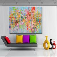 primavera de arte abstracto al por mayor-Canvas Art Print Poster Abstract Spring Mosaic Oil Painting Canvas Imagen de pared para dormitorio Sala de estar Sin marco