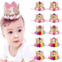 accessoires pour anniversaire achat en gros de-Mix 60 Bébé Infantile fleur couronne bandeaux bande de cheveux bébé fête d'anniversaire photographie Props Glitter coiffe bandeaux Enfants Cheveux Accessoires