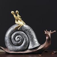 estatuas de amor al por mayor-Creativa resina caracoles amante Diseño estatua artesanías de decoración del hogar decoración de la habitación objetos salón de bodas figurines regalos amor souvenir