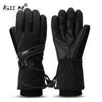 Wholesale snow gloves men for sale - Group buy Men Women Waterproof Ski Gloves Black Windproof Snowmobile Snowboard Gloves Snow Sport Thermal Climbing Cycling Riding
