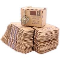 ingrosso scatola per imballaggio al cioccolato-50pcs Nuovo Stamp Design Matrimonio Vintage Candy Box Cioccolato Packaging Kraft Gift Box Bomboniere e regali Borsa per feste