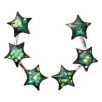 серьги для подружки день рождения оптовых-YACQ 925 стерлингового серебра звезды серьги стержня день рождения зеленый изысканные ювелирные изделия подарки для женщин ее подруга Dropshipping CE149A
