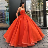 Wholesale fashion corsets - Ball Gown Evening Dresses V Neck Satin Organza Corset Floor Length Blue Yellow Purple Simple Evening Gowns Formal Prom Dresses Zipper Up