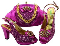 Wholesale Italian Green Party - New Fuchsia Color African Matching Shoes and Bags Italian In Women Sales In Women Matching Shoes and Bag Set Decorated with Stone MM1062
