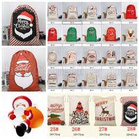 Wholesale red reindeer - Christmas Canvas drawstring bag Santa Sack Drawstring Bag Reindeers Santa Claus Sack Bags Drawstring Canvas Present Bag KKA5602
