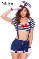 Wholesale Lingerie Sailor Costume - Sexy Lingerie hot navy sailor costume 1321 navy blue uniform cosplay halloween sexy Costume