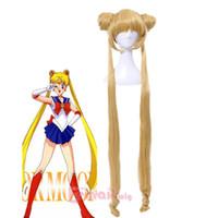 volle pferdeschwanzperücken großhandel-Tsukino Usagi Sailor Moon lange goldene blonde Pferdeschwänze Cosplay Haar volle Perücken