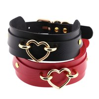 Wholesale punk buckle choker - New Fashion Sexy Punk Gothic Choker Necklace Personality Heart Studded Spike Rivet Buckle Double Leather Collar Necklace Jewelry
