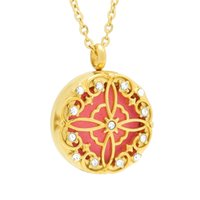Wholesale new crystal perfume resale online - 2018 New Arrival mm Flower Essential Oil Diffuser Locket Stainless Steel Arotherapy Perfume Screw Locket Pendant Jewelry