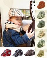 Wholesale Cute Toddler Girls Winter Hats - cute kids toddler flax cap new boys hat classic plaid hat check beret sun flat child caps England plaid beret