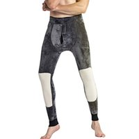 long thick leggings NZ - Man Keep Warm Kneepad Pants Thickening Thermal Underwear For Men Winter Long Johns Thick Fleece Leggings Wear Cold Weather 500g
