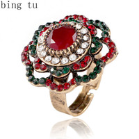 Wholesale big adjustable rings - Bing Tu Big Crystal Flower Rings For Women Antique Gold Color Open Ring Vintage Turkish Jewelry Adjustable Finger Ring anillos